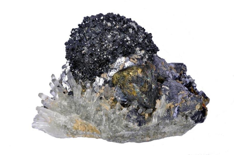 Cristallo Dei Minerali, Galena, Calcopirite, Quarzo Fotografia Stock Libera da Diritti