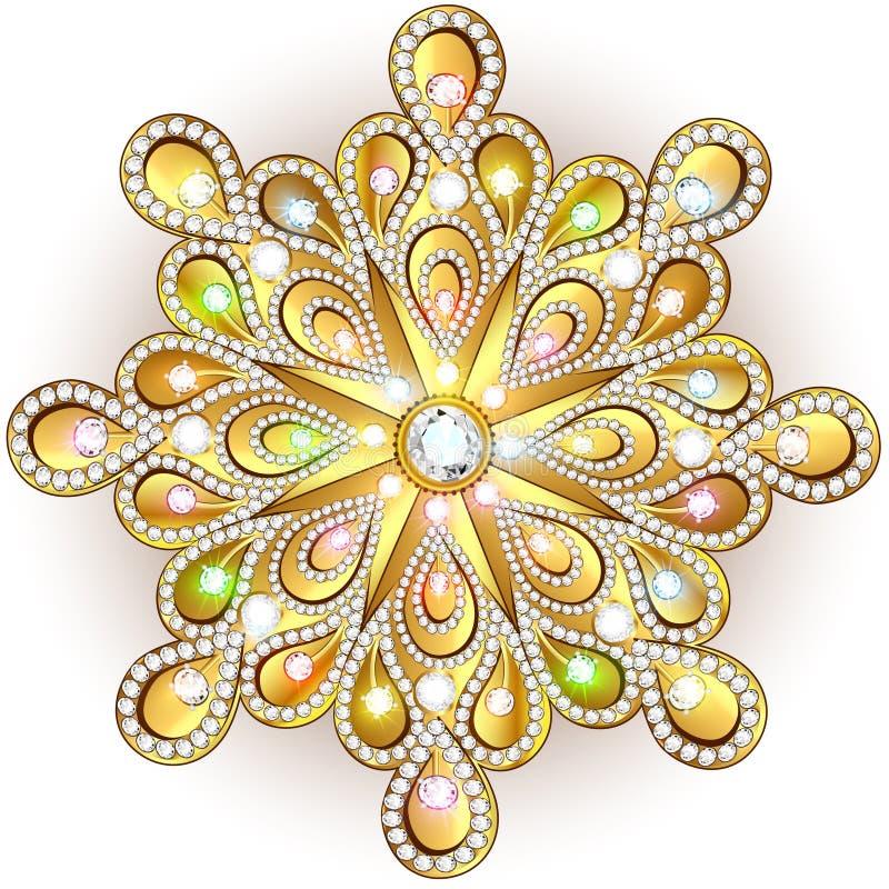 Cristallo del fiocco di neve di Natale molto Bei gioielli, medalli royalty illustrazione gratis