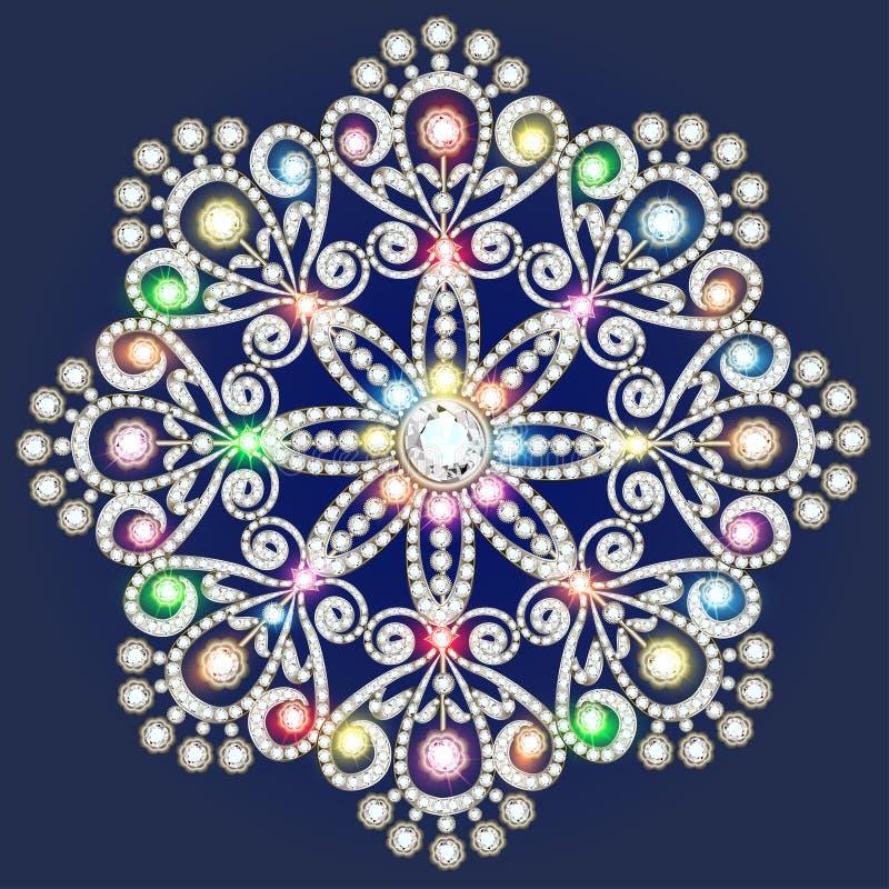 Cristallo del fiocco di neve di Natale molto Bei gioielli, medalli illustrazione vettoriale
