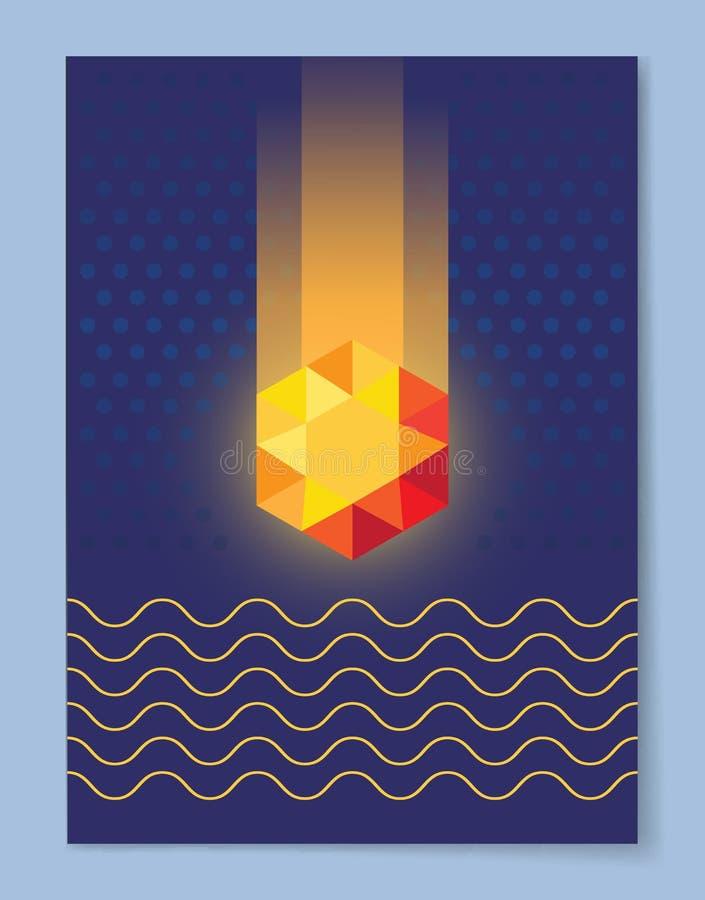 Cristallo dorato della pietra preziosa cosmica su fondo blu royalty illustrazione gratis