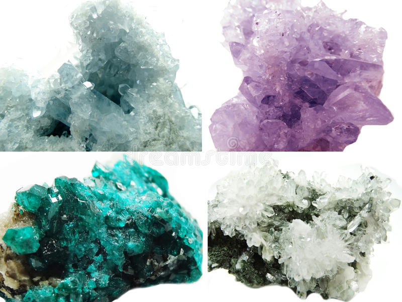 Cristallo geologico della roccia del Celestite di geode diopside ametista del quarzo fotografia stock