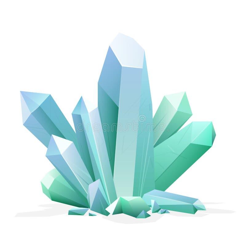 Cristallo magico Ametista, topazio, quarzo blu, pietra preziosa verde vermiglia Elemento del tesoro del gioco illustrazione di stock