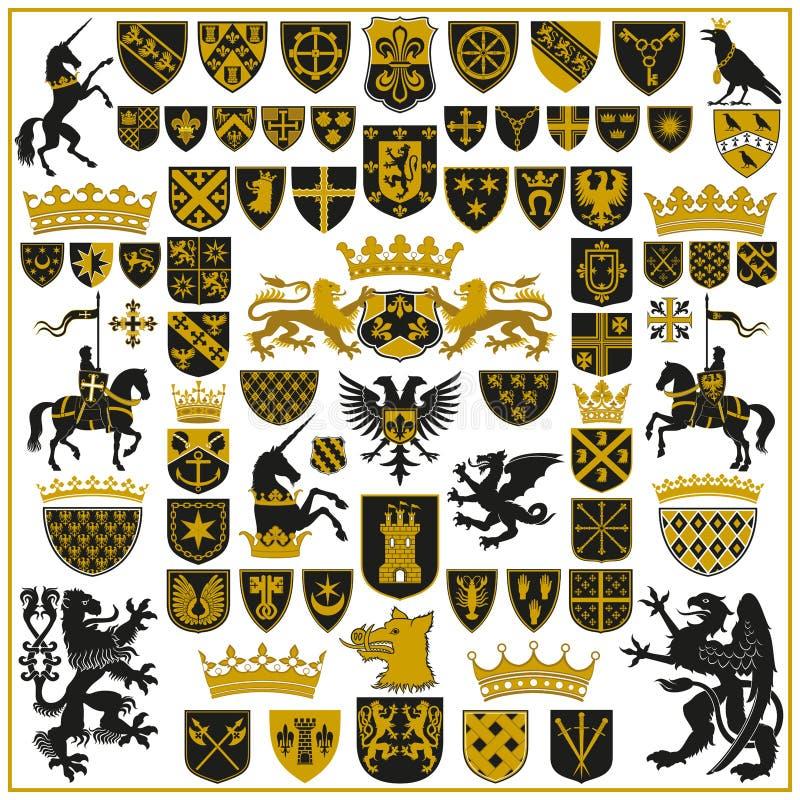 Cristas e símbolos da HERÁLDICA ilustração do vetor