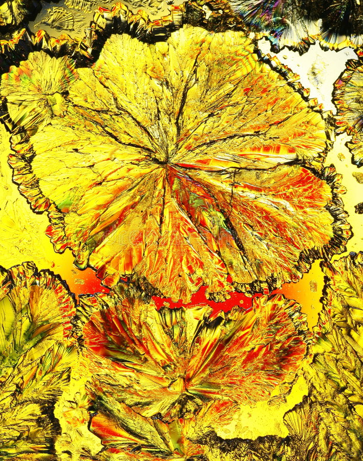 Cristaux colorés d'acide citrique photographie stock libre de droits