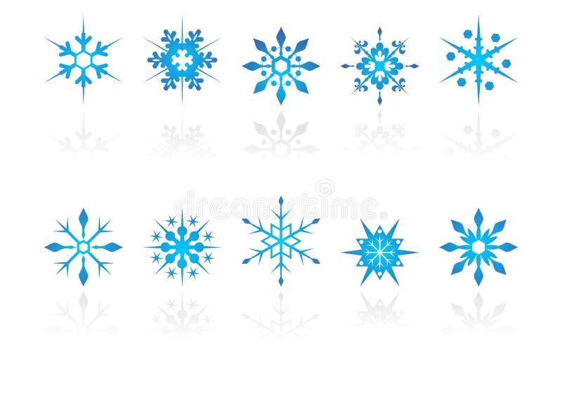 Cristaux de neige avec la réflexion illustration de vecteur