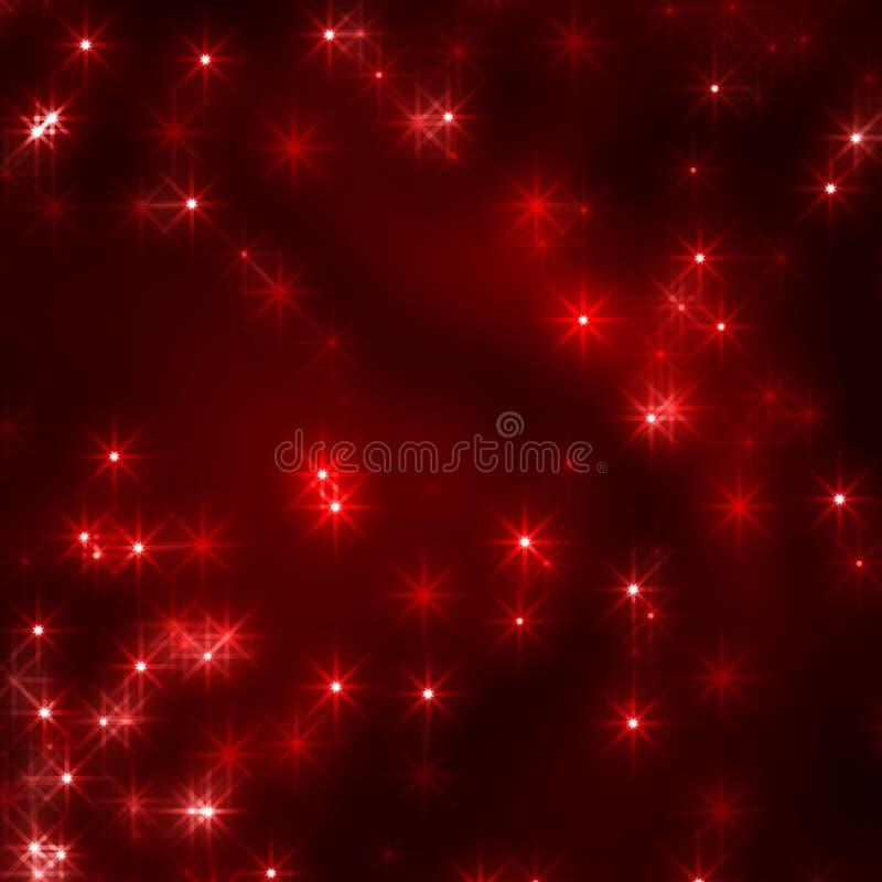 Cristhmas stars el fondo en rojo stock de ilustración