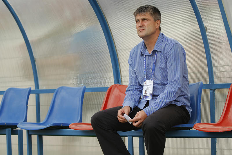 Cristi Popovici, manager of FC Botosani. During the football match between his team and CFR Cluj, Romania, League 1 stock photography