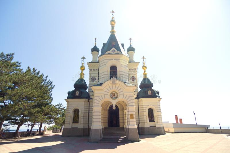 The cristian church is on the square, the view is straight ahead. Against the ba royalty free stock photos