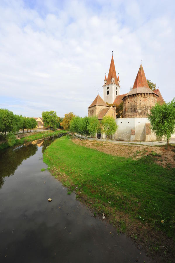 Cristian ha fortificato la chiesa - Sibiu, Transylvania immagini stock libere da diritti