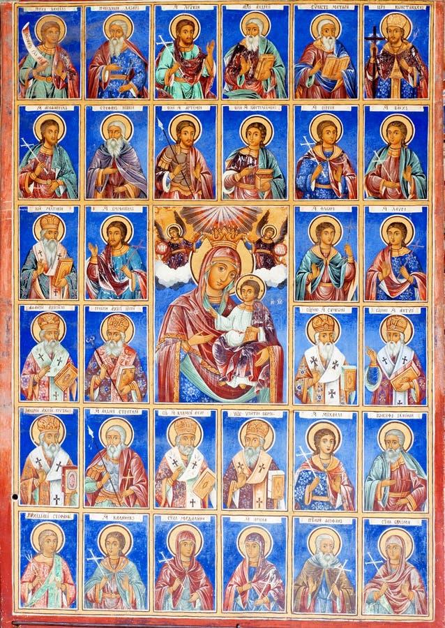Cristian Murals, Fresko in Klooster Rila royalty-vrije stock afbeeldingen