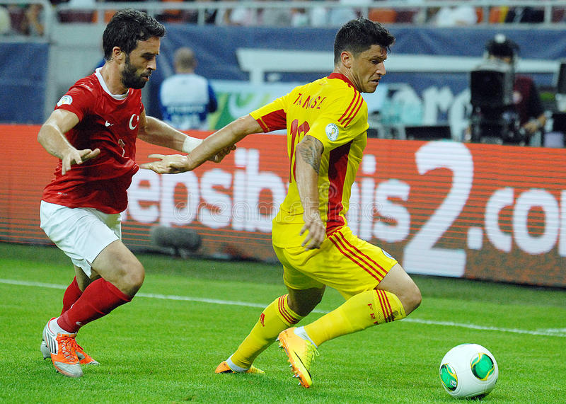 Cristian Tanase And Gokhan Gonul Players In Romania-Turkey World Cup Qualifier Game Editorial Photography