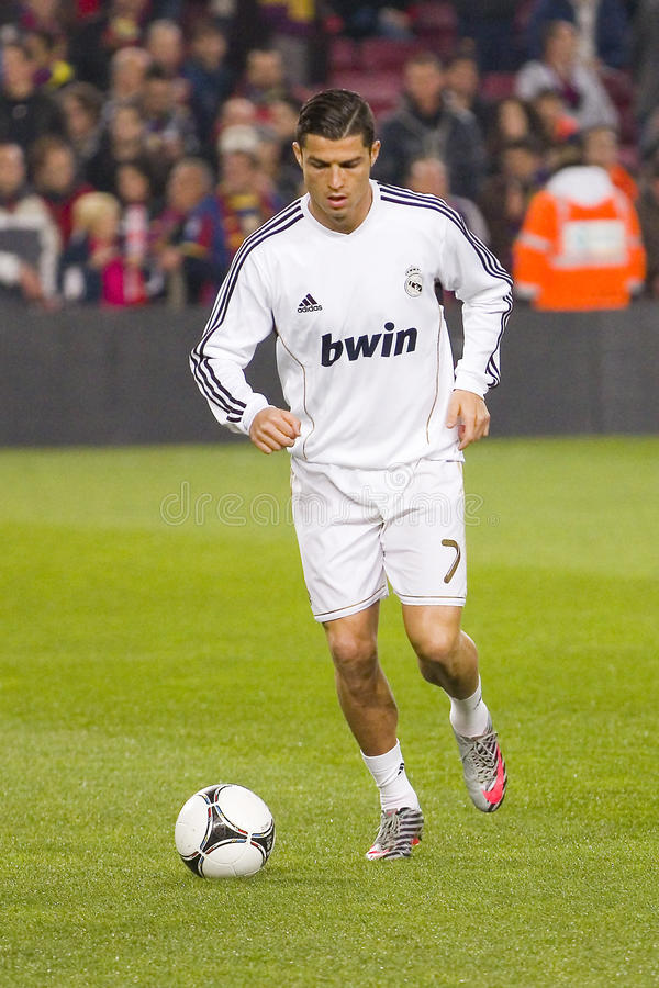 Cristiano Ronaldo. BARCELONA - JANUARY 25: Cristiano Ronaldo in action at the Spanish Cup match between FC Barcelona and Real Madrid, final score 2 - 2, on stock photo