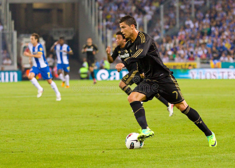 Cristiano Ronaldo in action royalty free stock photos