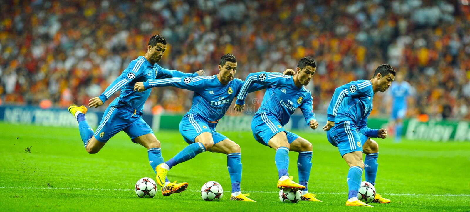 Cristiano Ronaldo dribbling in action. Real Madrids Cristiano Ronaldo dribbling during their Champions League Group B soccer match against Galatasaray at Turk royalty free stock photos