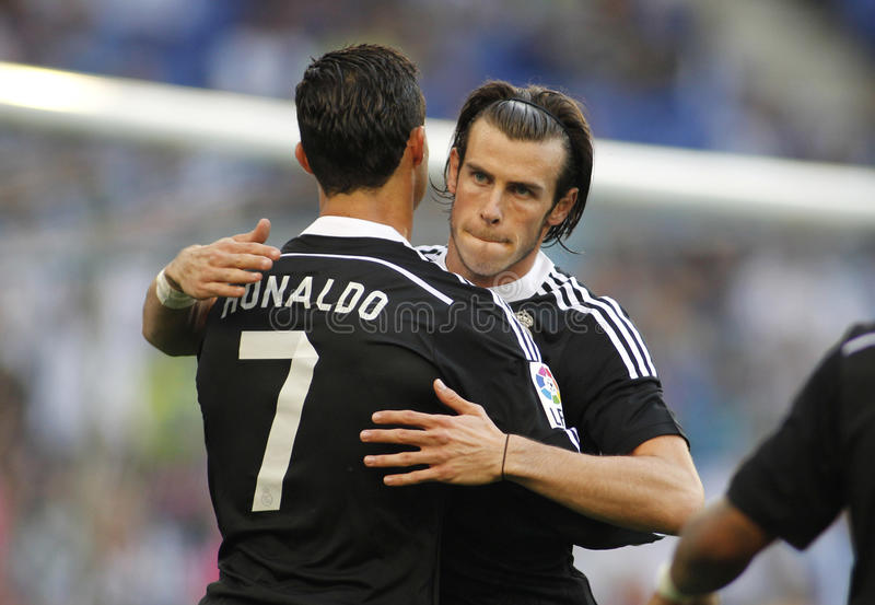 Cristiano Ronaldo e Gareth Bale do Real Madrid fotos de stock royalty free