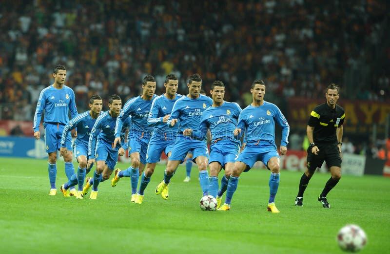 Cristiano Ronaldo-Freistoß während lizenzfreie stockfotos