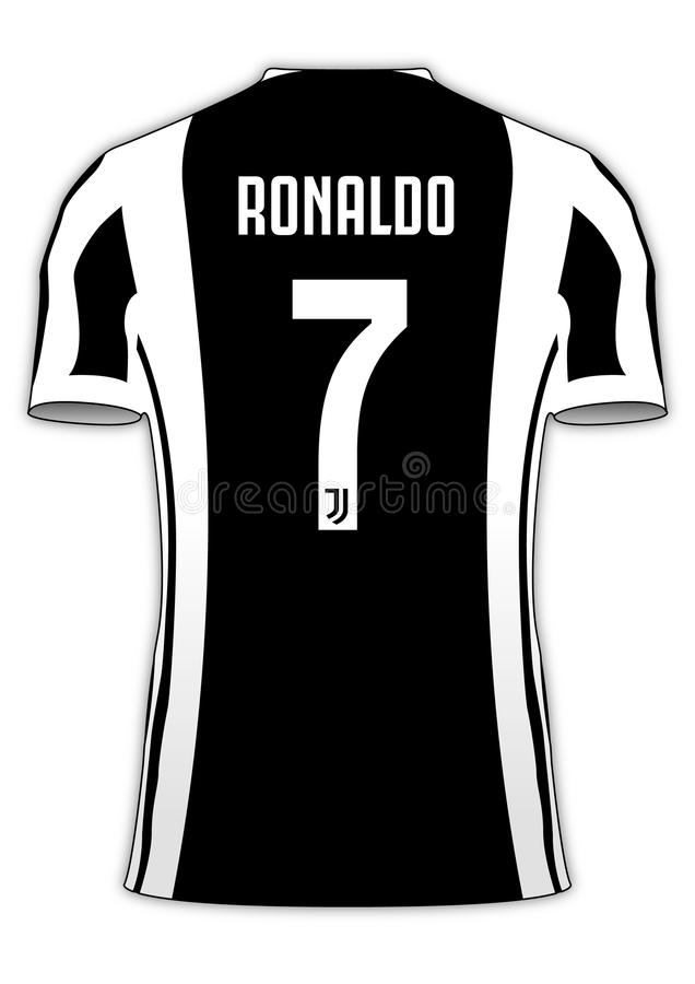 Cristiano Ronaldo Juventus fotbollslagärmlös tröja nummer 7 royaltyfri illustrationer
