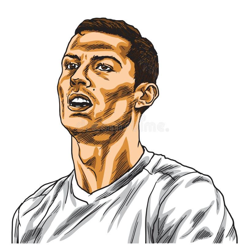 Cristiano Ronaldo kreskówki Wektorowego portreta Rysunkowa ilustracja Turyn, Styczeń 15, 2019