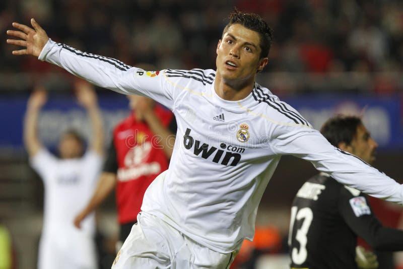 Cristiano Ronaldo nach dem Schuss eines Tors stockbilder