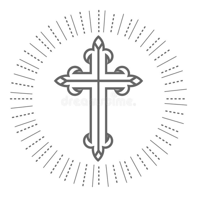 Cristiano trasversale santo ed illustrazione ortodossa su fondo bianco royalty illustrazione gratis