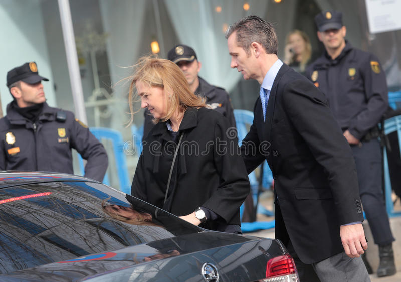 Cristina and inaki 008. Spain princess Cristina leave with her husband Inaki urdangarin the court after trail in case called Noos in charges of tax fraud, in stock images