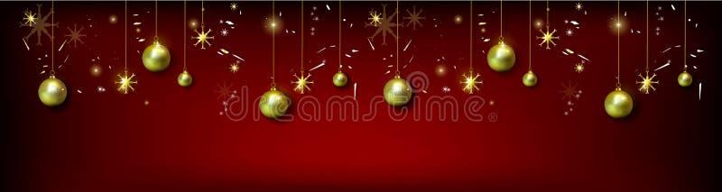 Cristmas与现实圣诞节球和金子s的贺卡 皇族释放例证