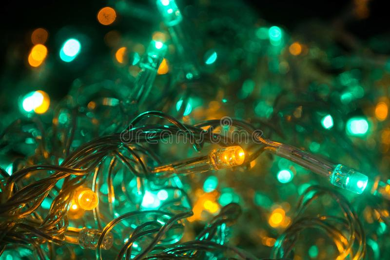 Cristmas光和颜色绿松石 免版税库存图片
