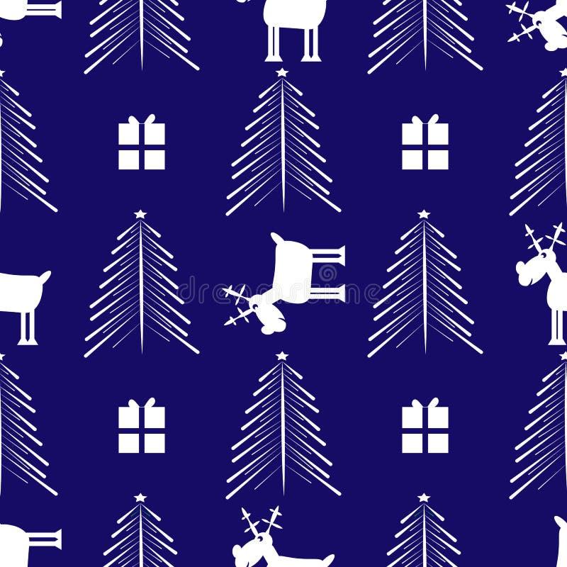 Cristmas Śmieszni rogacze, prezent i Cristmas drzewo, Nowego roku bezszwowy wzór ilustracja wektor