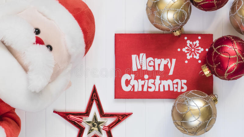 Cristmas background. Red decoration. Merry Cristmas greeting card. Merry Cristmas gift. Santa Claus. Merry Cristmas and happy new year card stock photo