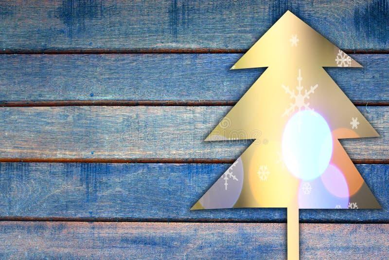 Cristmas Baum auf hölzernem Hintergrund vektor abbildung