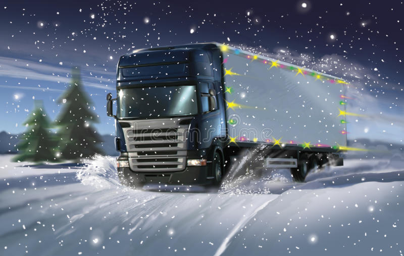 cristmas ciężarówka royalty ilustracja
