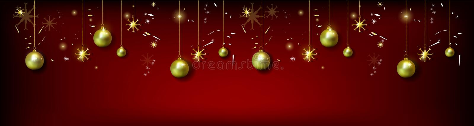 Cristmas greeting card with realistic Christmas ball and gold s. Nowflakes royalty free illustration