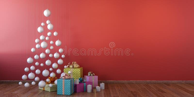 Cristmas-Innenraum mit weißen Bällen, roter Wandspott oben stock abbildung