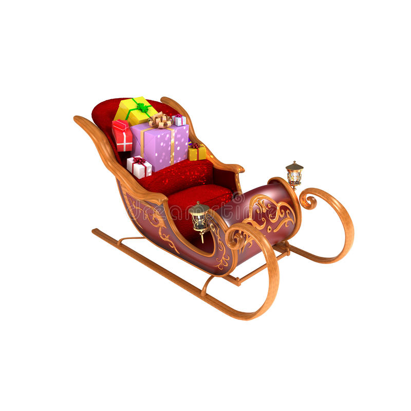 cristmas isolerade santas sleighwhite stock illustrationer