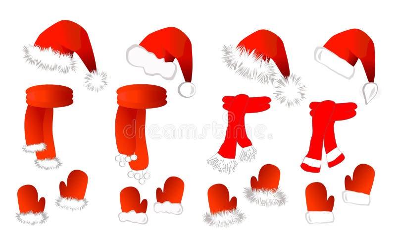 Cristmas stellte ein: Weihnachtsmann-Hut, Schal und Handschuhe stockbild