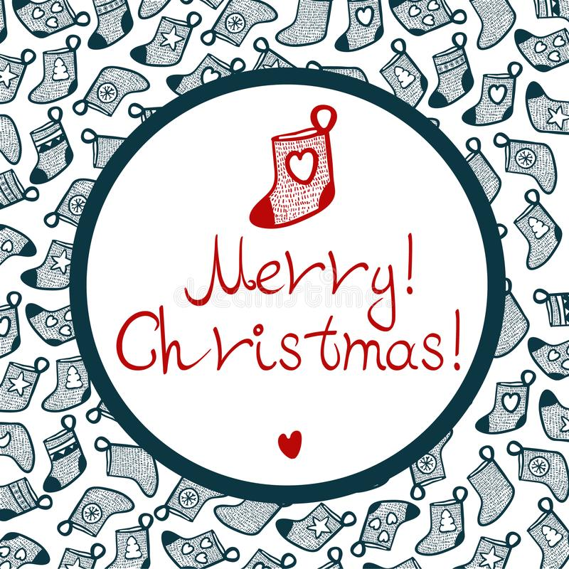 Cristmas stocking with pattern and little heart stock photography