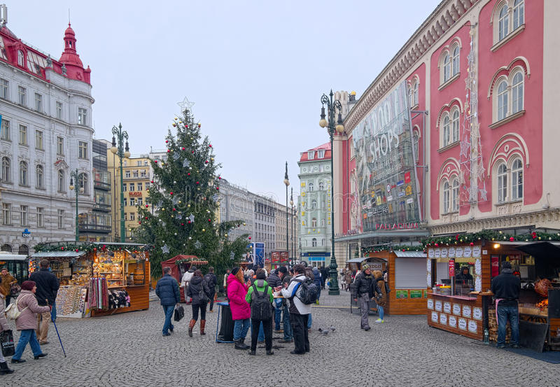 Cristmas tree and market kiosks in Prague, Czech Republic stock photo