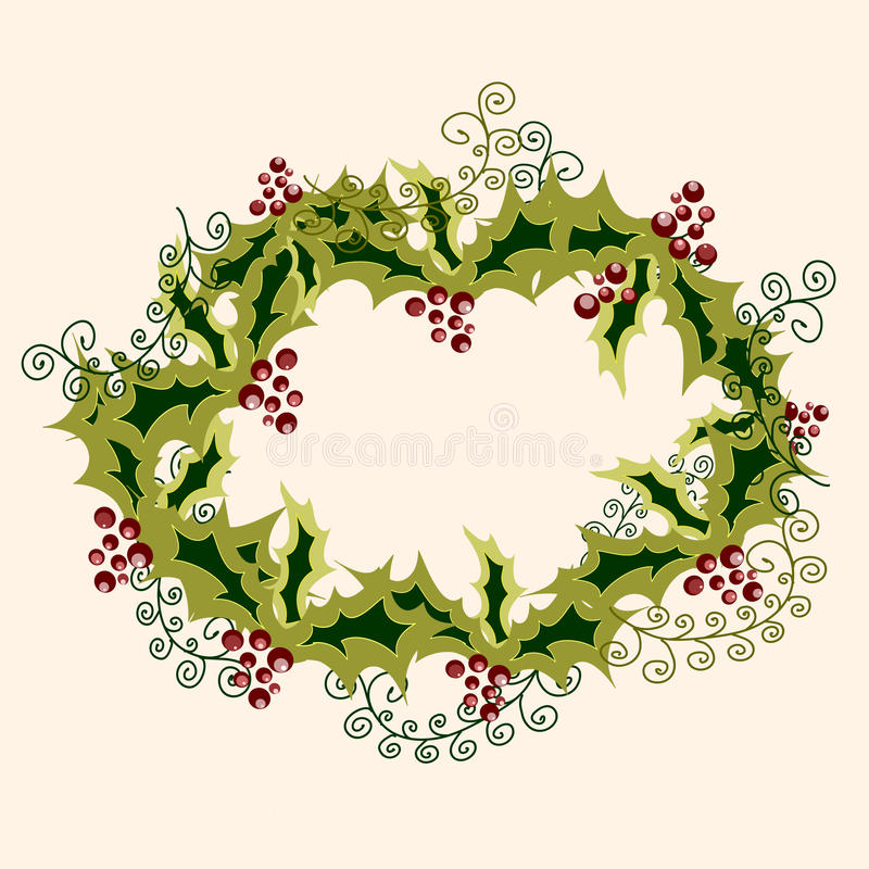 Cristmas Wreath Made From Holly Branches Stock Image