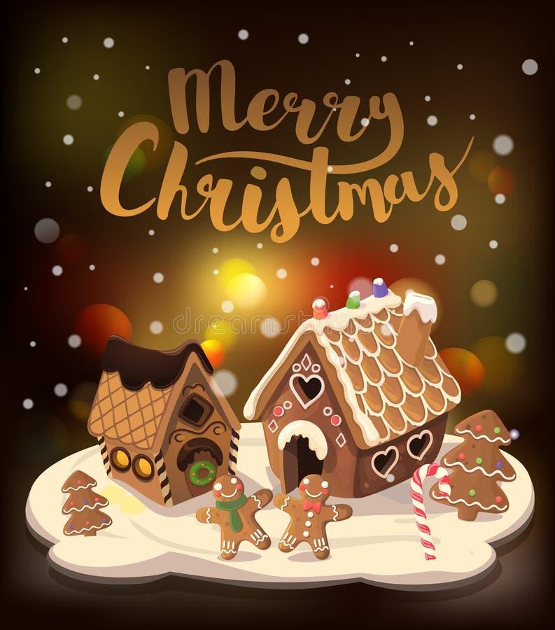 Cristmasachtergrond met peperkoekhuizen, suikergoed, en peperkoek kleine mensen, Vectorillustratie royalty-vrije illustratie