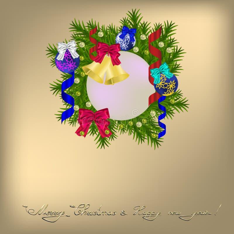 Cristmasgroet met Kerstmiskroon stock illustratie