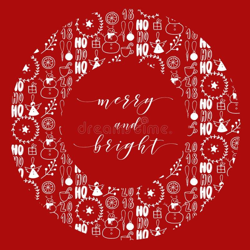 Cristmaskroon met krabbelpatroon Vector hand getrokken illustratie Eenvoudig Kerstmisart. De Skandinavische kaart van de Nieuwjaa vector illustratie