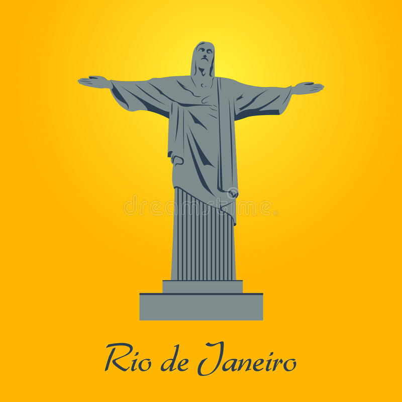 Cristo статуи Рио-де-Жанейро вектора иллюстрация штока