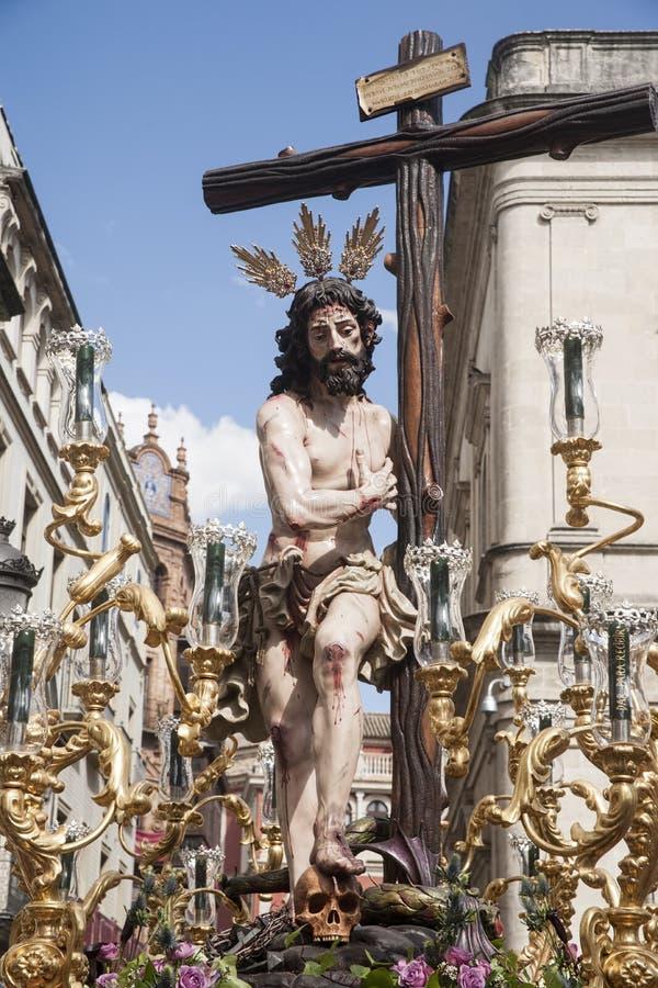 Cristo de la fraternidad del Sun, Pascua en Sevilla fotos de archivo libres de regalías