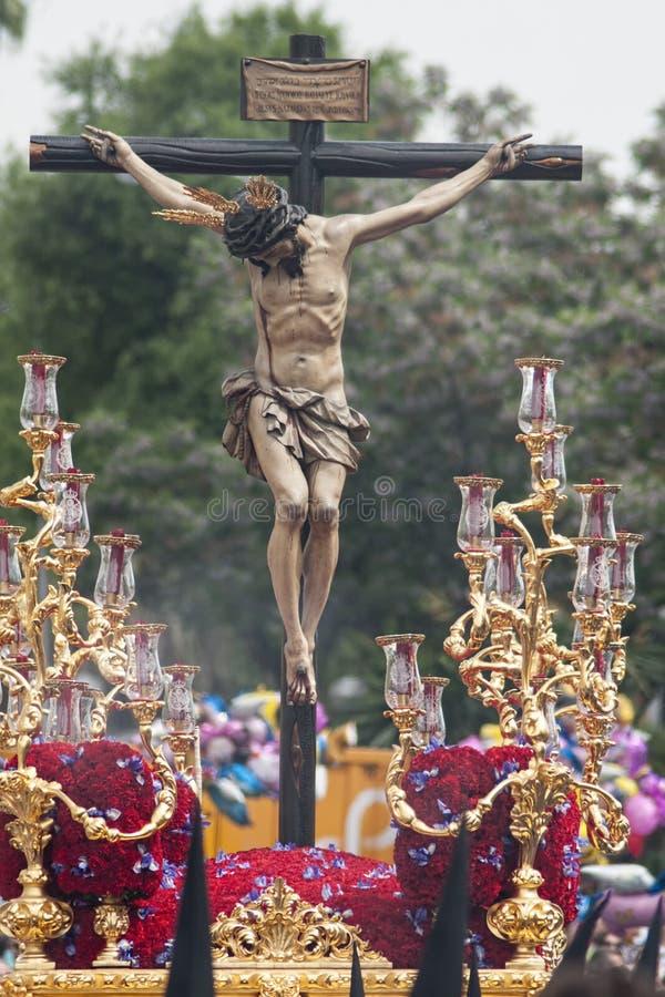 Cristo de la fraternidad de san Bernardo, semana santa en Sevilla imagen de archivo libre de regalías