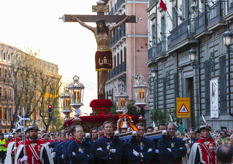 Cristo de los Alabarderos, in the procession of Holy Week in Mad stock images