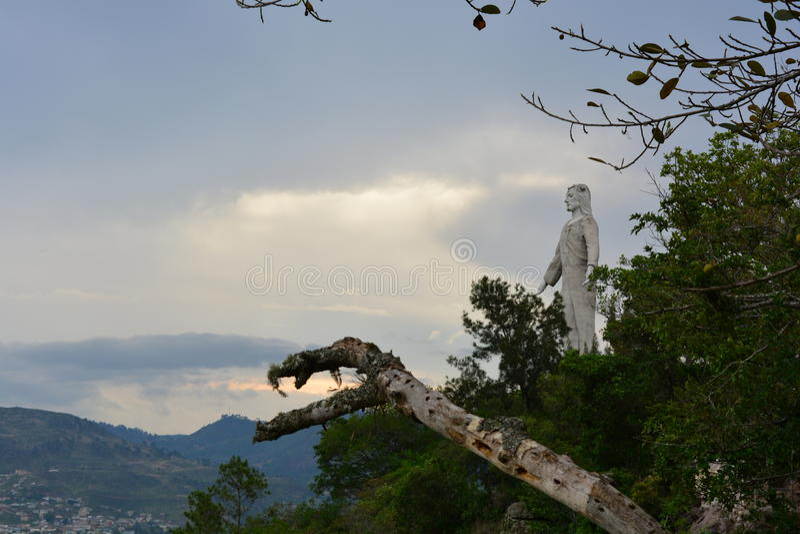 Cristo del Picacho statue in Tegucigalpa, Honduras. The statue of Picacho Christ at the Las Naciones Unidas park in Tegucigalpa, Honduras royalty free stock image