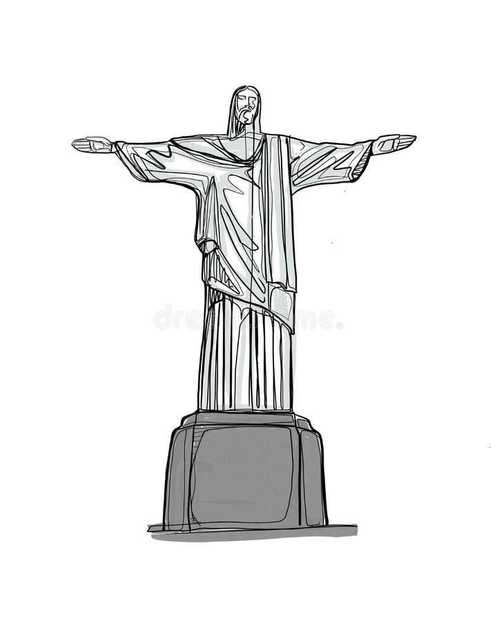 Cristo el ejemplo exhausto de la mano famosa de la estatua del redentor stock de ilustración