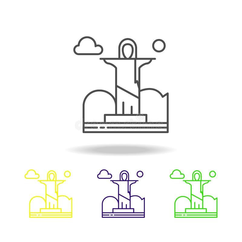 Cristo el redentor, icono coloreado nube Puede ser utilizado para la web, logotipo, app móvil, UI, UX libre illustration