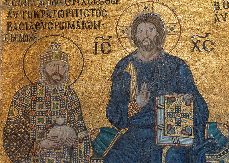 Cristo entronizou, flanqueado por Constantim IX Monomachus fotos de stock