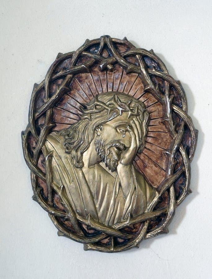 Cristo ha incoronato con le spine immagine stock libera da diritti